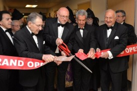 (from left to right) Trustee Ron Nazeley, Past Chairman Armen Hampar, Chairman Joseph Kanimian, Past Chairman Robert Taylor, Past Chairman Nazar H. Ashjian, Jr. and Trustee Berj Shahbazian cut the Avakian Wing Grand Opening ribbon