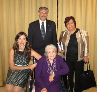 Yevnige Salibian at Shoah Foundation's Gala with her granddaughter Talin Bahadarian, Ararat Home COO Derik Ghookasian and Ararat-Eskijian Museum Director Maggie Mangassarian-Goschin