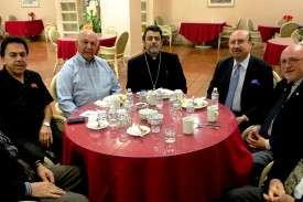 H.E. Archbishop Hovnan Derderian dines with trustees at Ararat Home in Mission Hills; from left to right: Peter Darakjian, Ron Nazeley, Nazar H. Ashjian Jr., CPA, the Primate, Sinan Sinanian, Joseph Kanimian, Esq., Armen Hampar