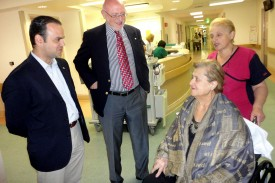 Mayor Zareh Sinanyan and Board Chairman Joseph Kanimian meet with Ararat Nursing Facility resident Madelen Sarkissian