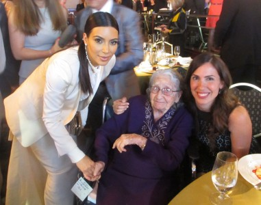 Yevnige Salibian and granddaughter Talin Bahadarian with celebrity Kim Kardashian