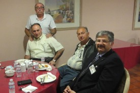 Pre-meeting dinner; from left to right: Richard Jebejian (standing), Rafi Mardirosian, Shahe Boyadjian, COO Derik Ghookasian