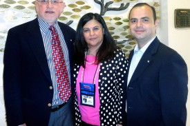 Board Chairman Joseph Kanimian, Assisted Living Facility Administrator Rita Noravian and Mayor Zareh Sinanyan