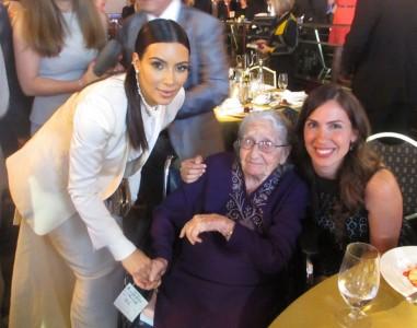 Yevnige Salibian and granddaughter Talin Bahadarian with celebrity Kim Kardashian